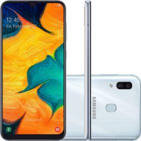 "Smartphone Samsung Galaxy A30 64GB Dual Chip 4GB Ram Android 9.0 Tela 6.4"" Octa-Core 4G Câmera 16MP + 5MP - Branco"