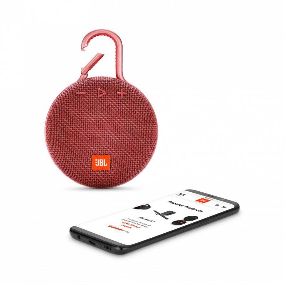 Caixa de Som Portátil JBL Clip 3 Bluetooth - Vermelha