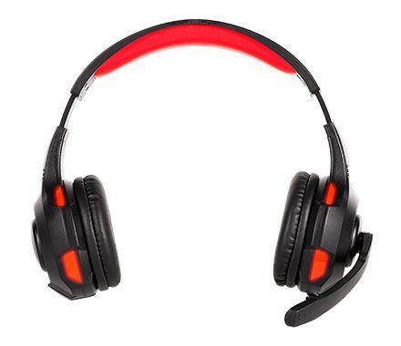 Headset Gamer Bright 0468 Com Iluminação em LED, Controle de Volume e Microfone Integrado - Preto/Vermelho