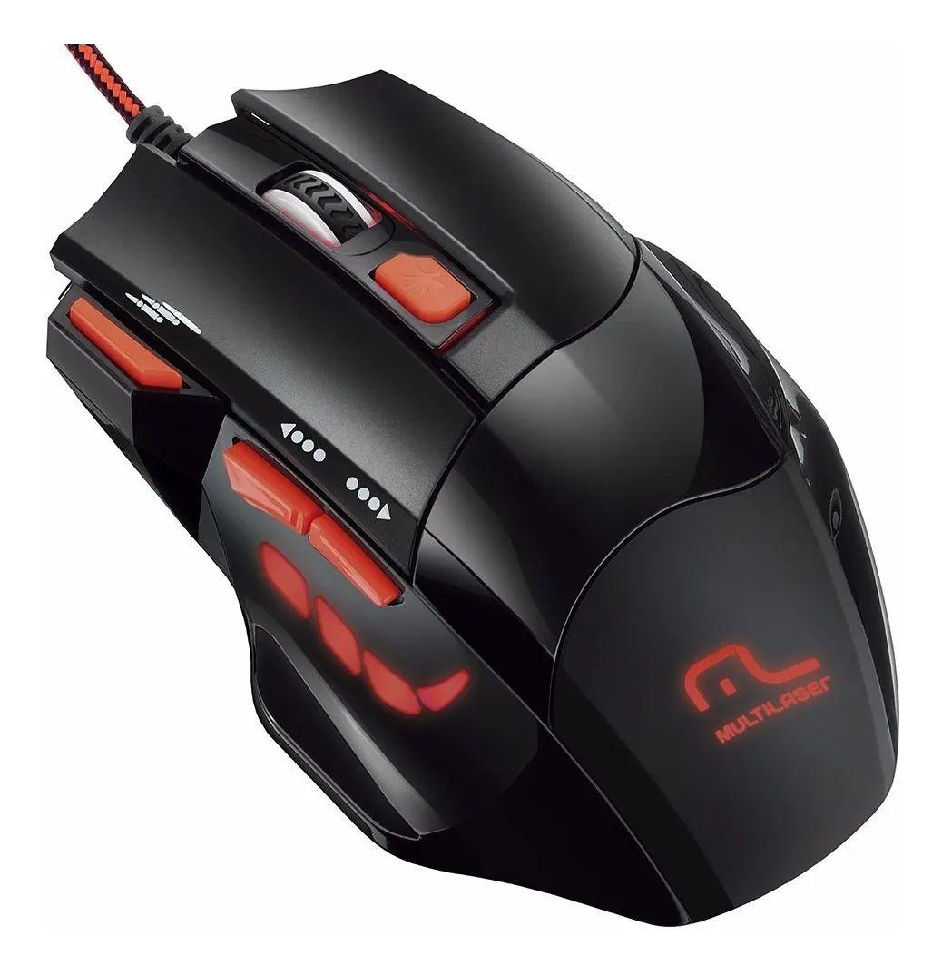 Mouse Gamer 2400dpi Laser 7 Botões e 4 Velocidades Botão Disparo Triplo QuickFire Multilaser MO236 - Preto/Vermelho