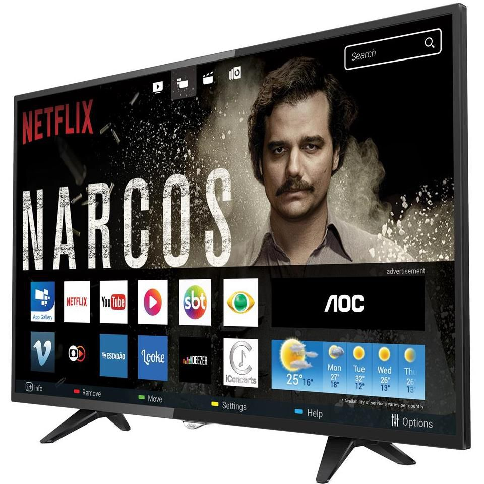 "Smart TV LED 32"" HD AOC 32S5295/78G com HDR, Wi-Fi, Miracast, Botão Netflix, Botão YouTube, Conversor Digital Integrado, HDMI e USB"