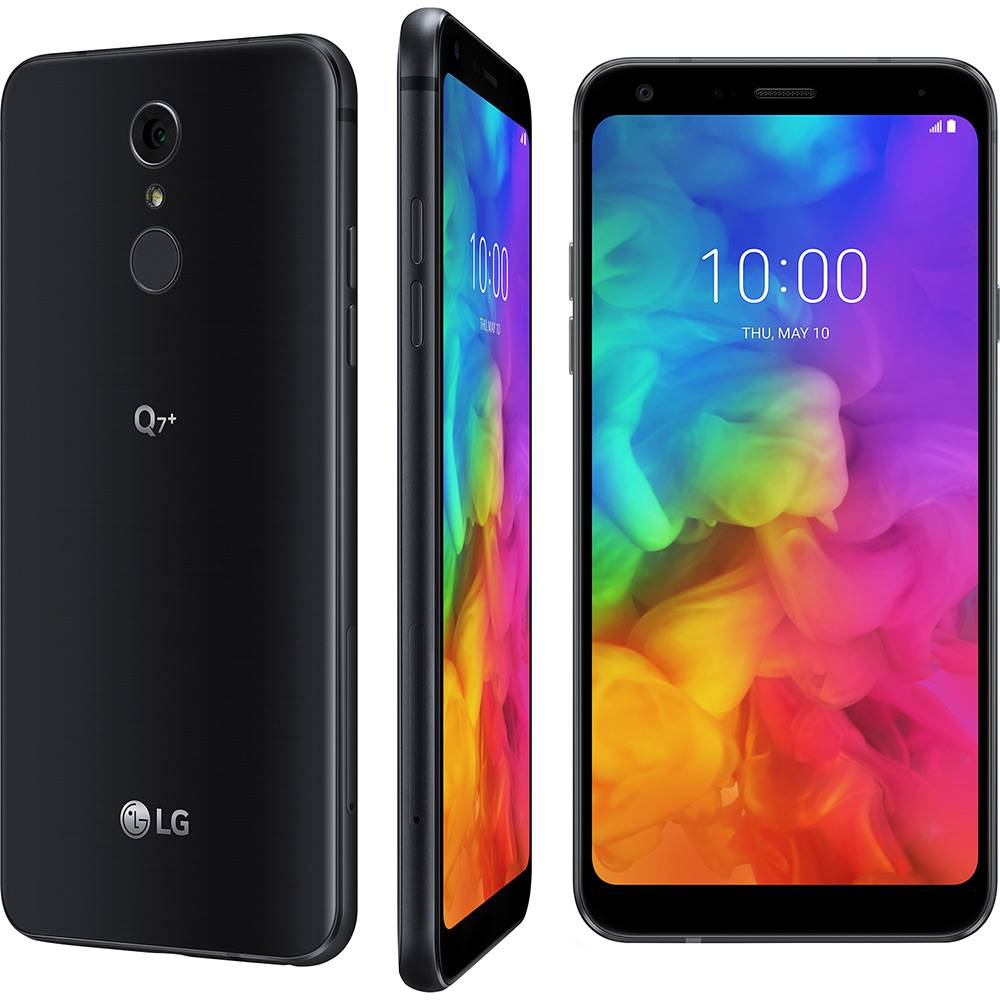 "Smartphone LG Q7+ 64GB Dual Chip Android 8.1.0 Oreo Tela 5.5"" Octa-Core 1.5 Ghz 4G Câmera 16MP com TV - Preto"