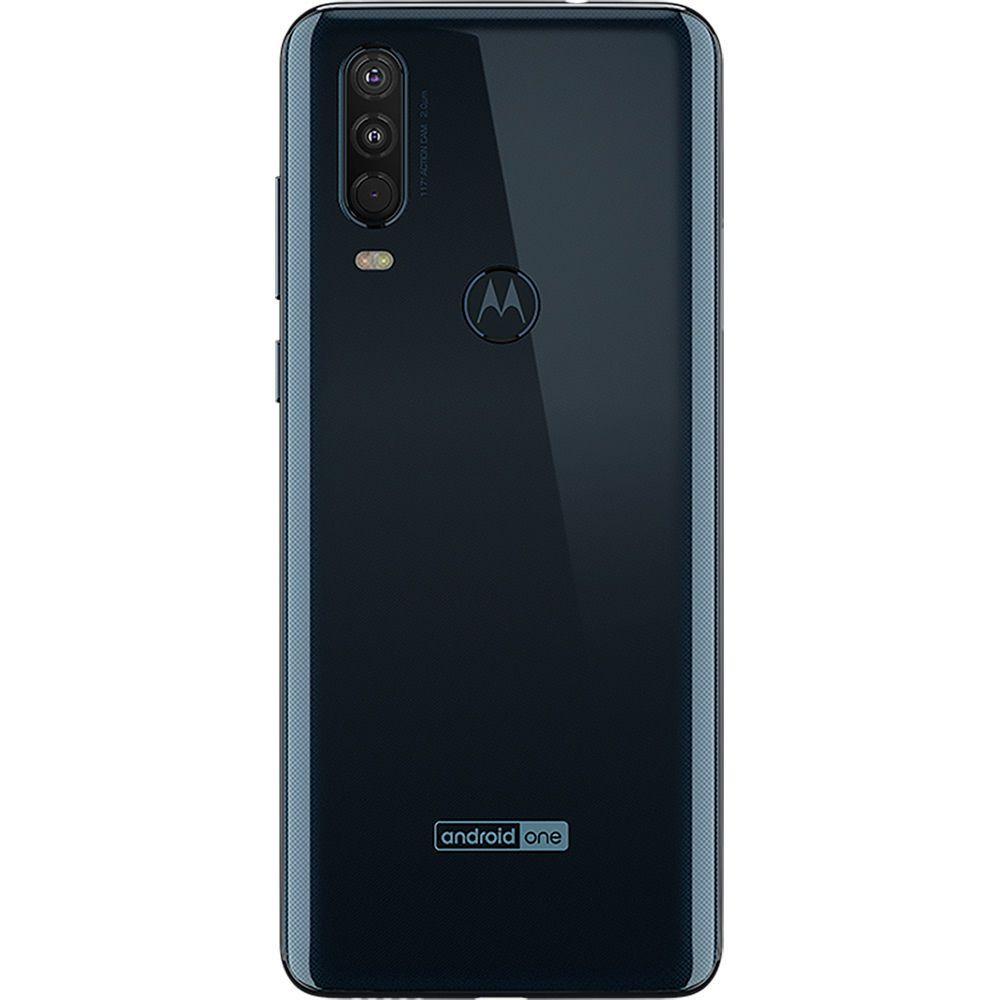 "Smartphone Motorola One Action 128gb Dual Chip Android Pie 9.0 Tela 6.34"" 4G Câmera Tripla 12MP+5MP+16MP - Azul Denim"