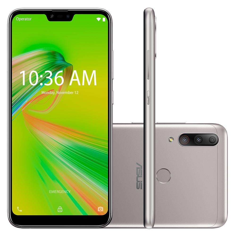 "Smartphone Zenfone Asus Max Shot 64 GB Dual Chip Android Oreo Tela 6,2"" Qualcomm QSP SIP1 4G Câmera tripla 12MP+5MP+8MP - Prata"