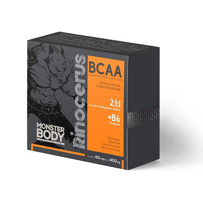 BCAA - Rinocerus - 60 Cápsulas - 400mg - 2:1:1 + Vitamina B6