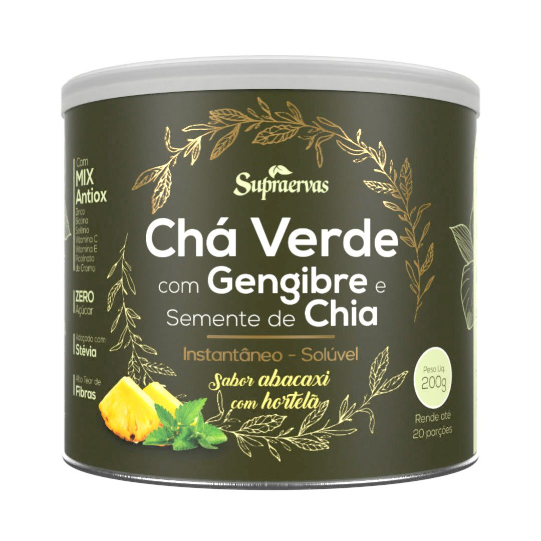 Chá Verde c/ Gengibre e Semente de Chia 200g - Sabor Abacaxi c/ Hortelã