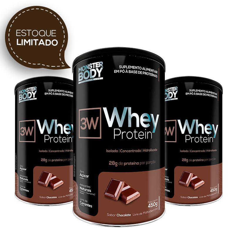Combo - Whey Protein 3W 450g - Chocolate - 3 Unidades