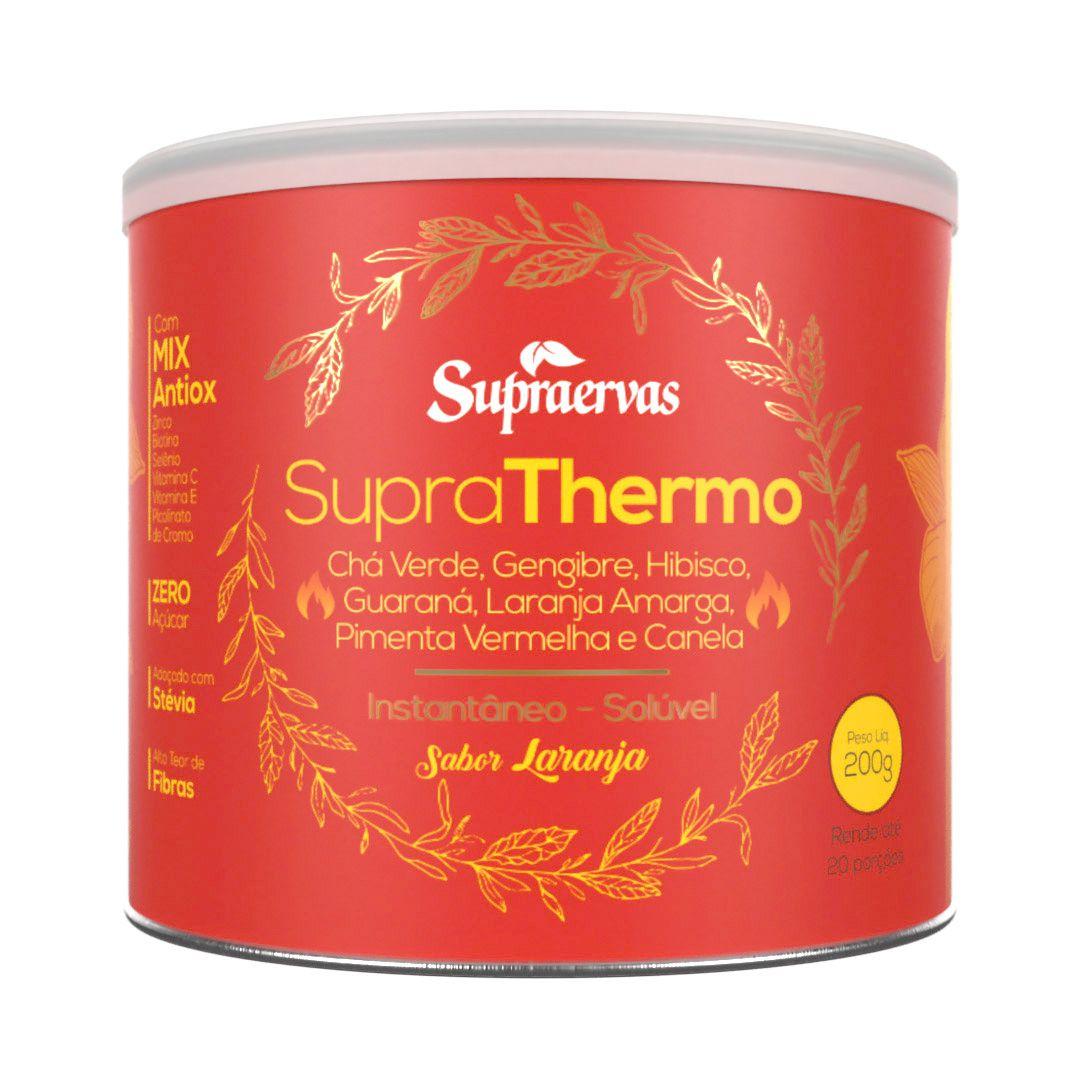 Supra Thermo 200g - Chá verde, Gengibre, Hibisco, Guaraná, Laranja Amarga, Pimenta Vermelha e Canela - Sabor Laranja