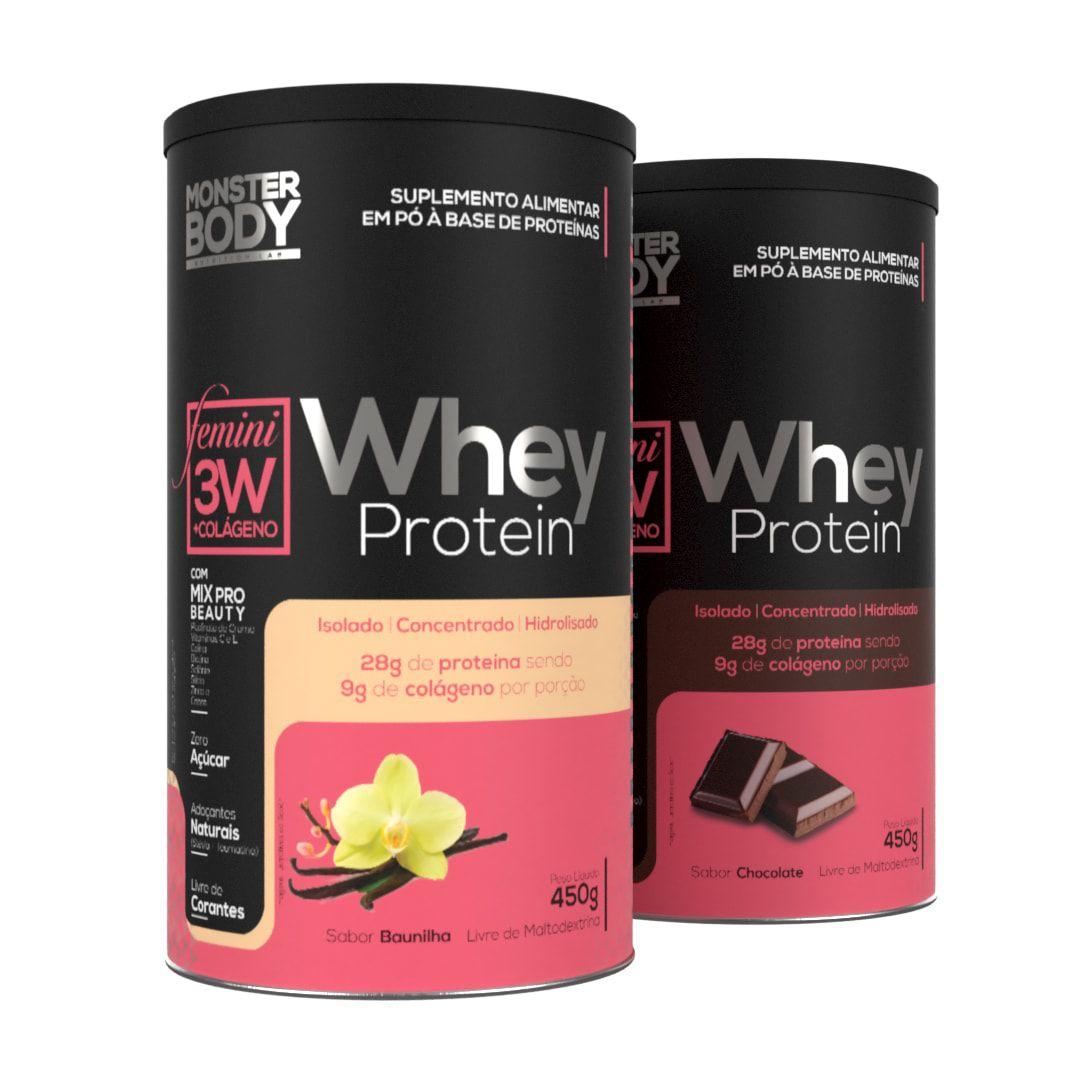 Whey Protein 3W Femini 450g - Com colágeno e Mix Pro Beauty