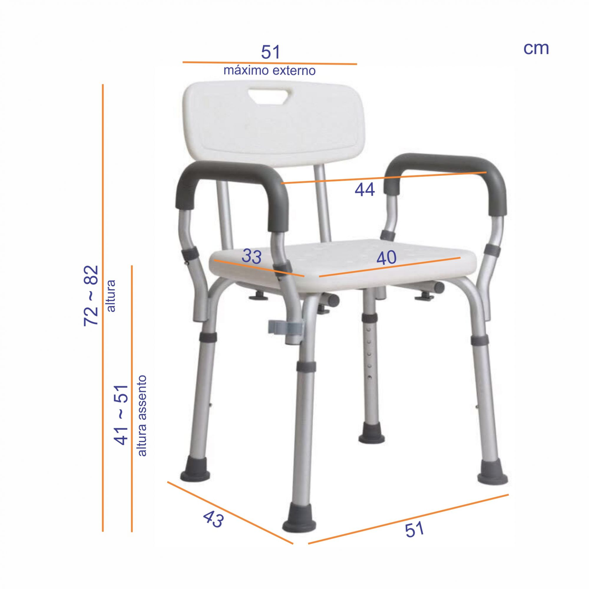 Cadeira de banho em alumínio ZIMEDICAL FST5208
