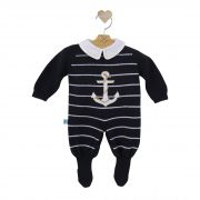 Macacão Para Bebê Âncora Azul Marinho com Body Bordado