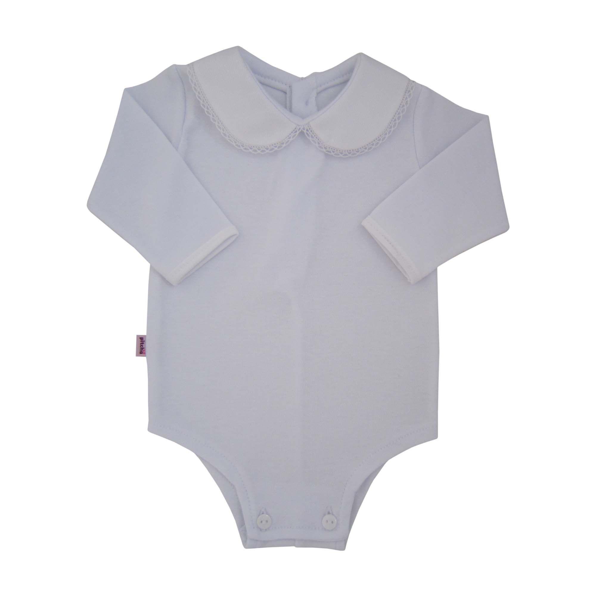 ca988b4bd Body Para Bebê com Gola de Renda Branco - Pitcha ...