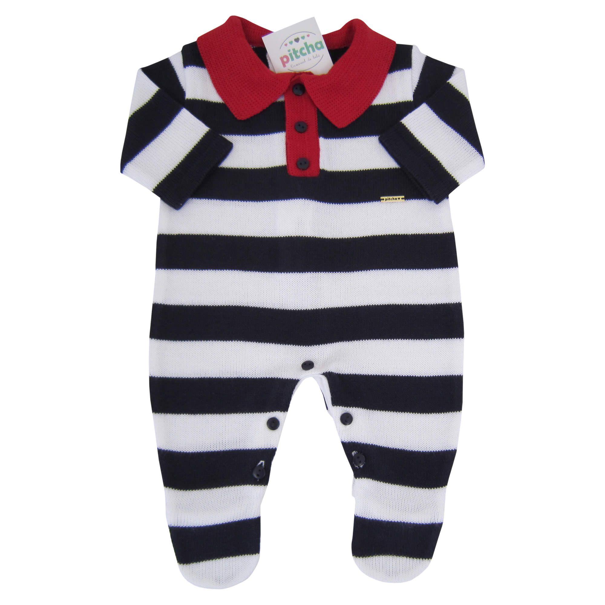 d8833cfd33b53 Macacão Listrado Para Bebê Menino com Gola Polo - Pitcha ...