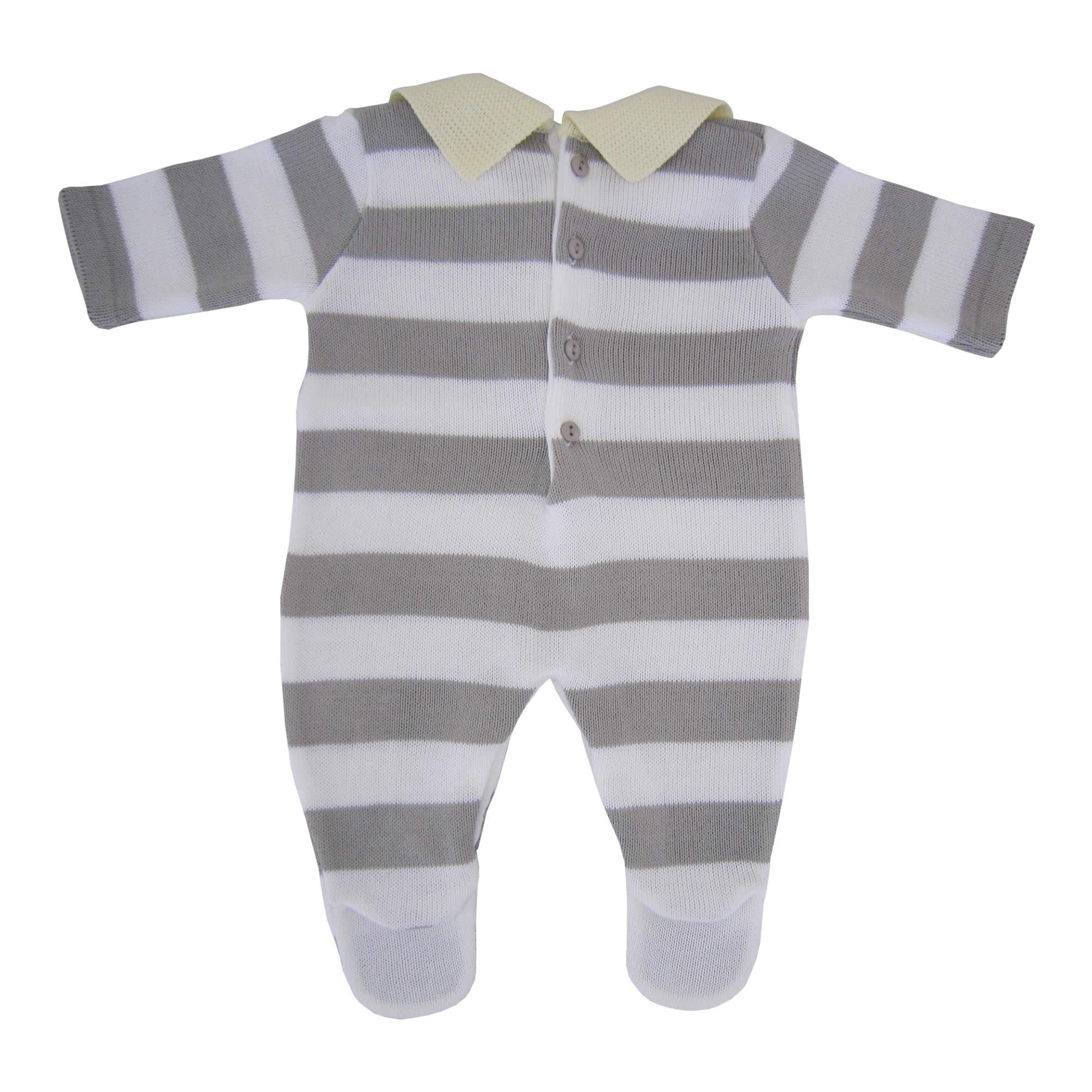 ddebe60413c79 ... Macacão Listrado Para Bebê Menino com Gola Polo - Pitcha ...