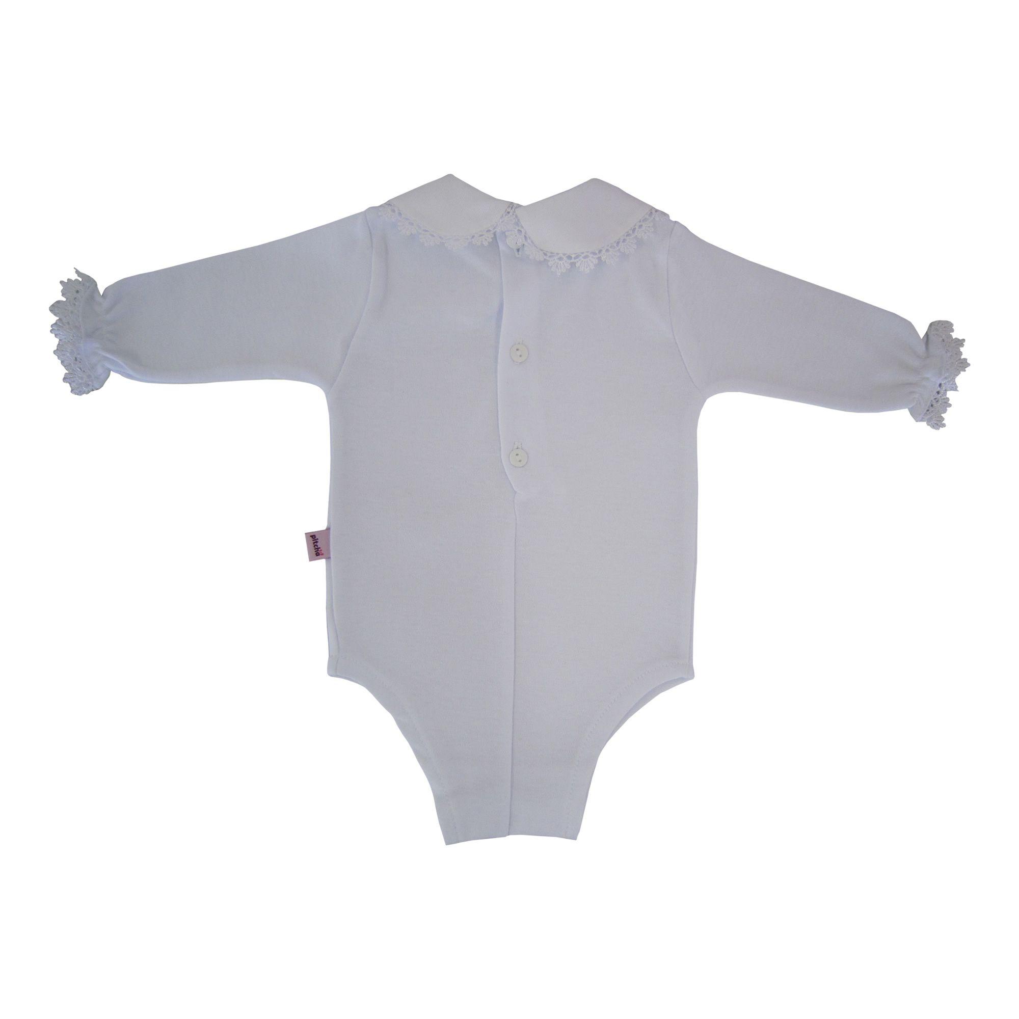 1cc85341e ... Macacão para Bebê Menina Casinha de Abelha Rosa com Body de Renda -  Pitcha