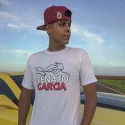 Kit Camiseta Oficial Branca Renato Garcia e Boné Renato Garcia Aba Reta Camuflado Cinza