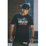Kit Camiseta Oficial Preta Renato Garcia e Boné Renato Garcia Aba Curva Camuflado Cinza