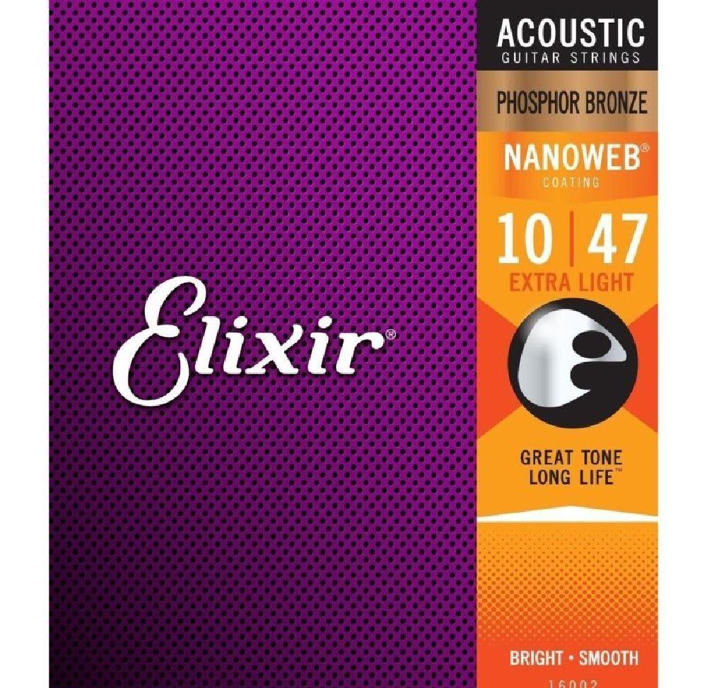 Encordoamento Elixir Extra Light Violão Aço 010 Phosphor Bronze