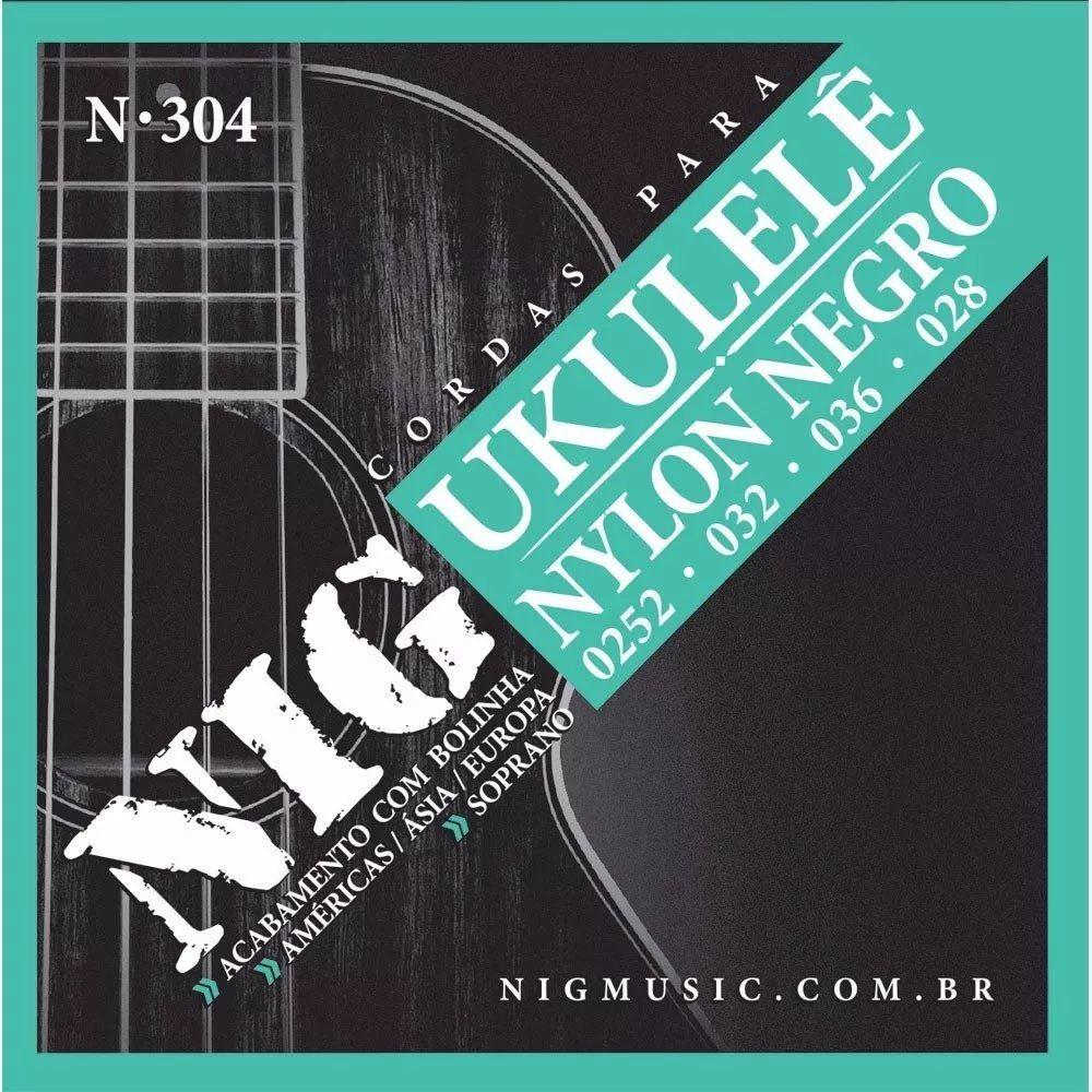 Encordoamento Nig Para Ukulele Soprano N-304 - Nylon Negro