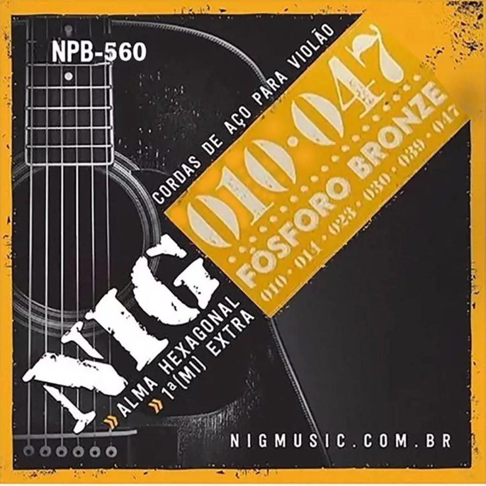 Encordoamento P/ Violão Aço 0.10 Fósforo Bronze Nig - NPB-560
