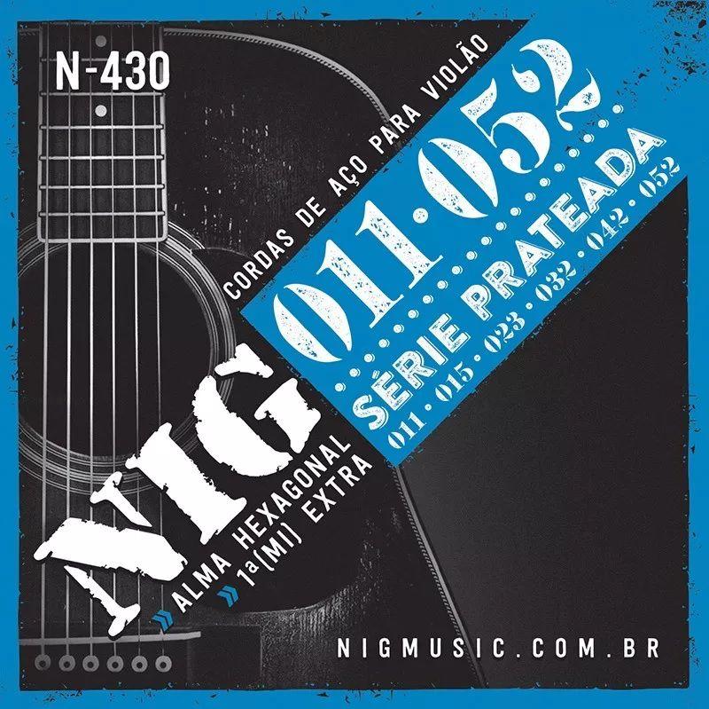 Encordoamento Violão Aço Nig N-430 Série Prateada 11/52