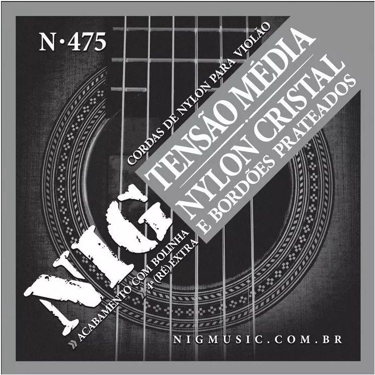 Encordoamento Violão Nylon Nig Cristal Prateada N-475 Clássico Tensão Média