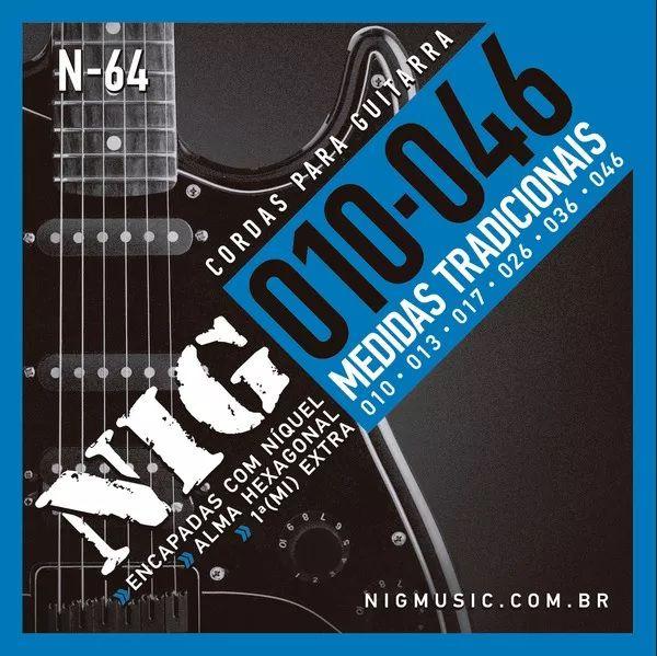 Encordoamentos P/ Guitarra Nig N-64 0.10 0.46 Tradicional