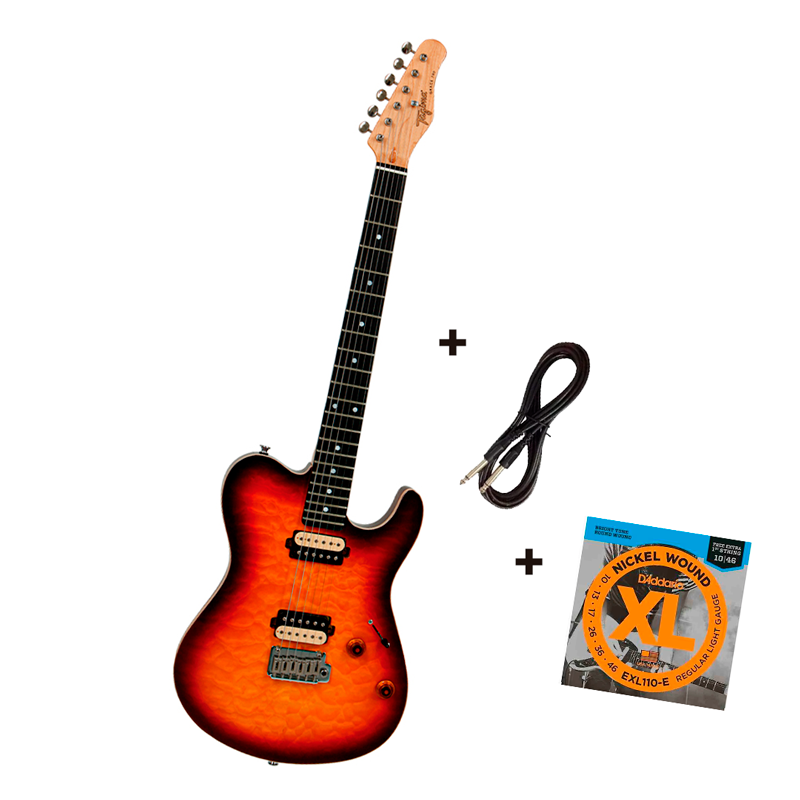 Guitarra Tagima Honey Burst - GRACE-700 - Cacau Santos + D'Addário EXL 010