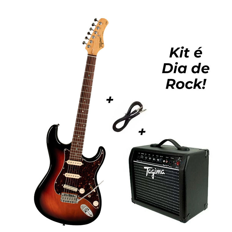 Guitarra Tagima T-805 Sunburst SB E/TT + Cubo Tagima Black Fox 50W + Cabo P10