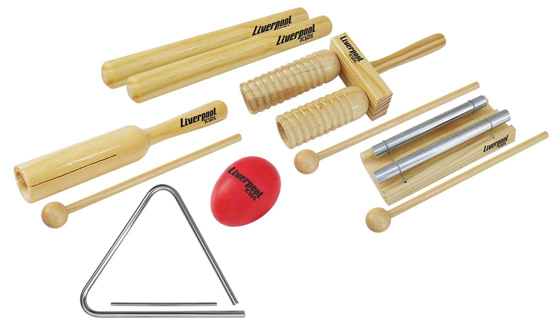 Kit Instrumentos Percussão Infantil Liverpool 6 Peças Inf01