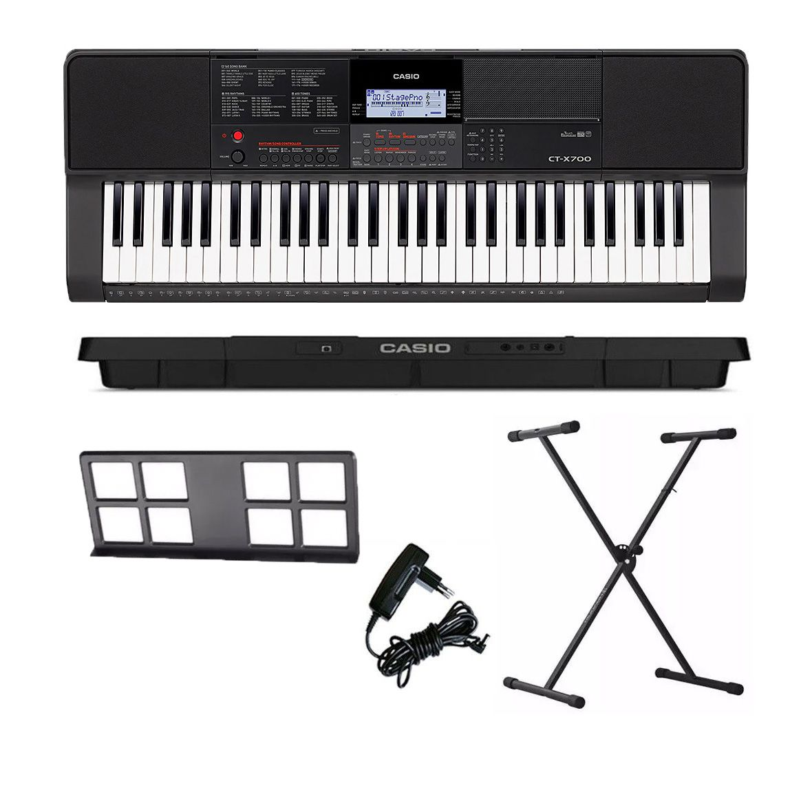 Kit Teclado Arranjador Musical 61 Teclas CTX-700 Casio Com X10S