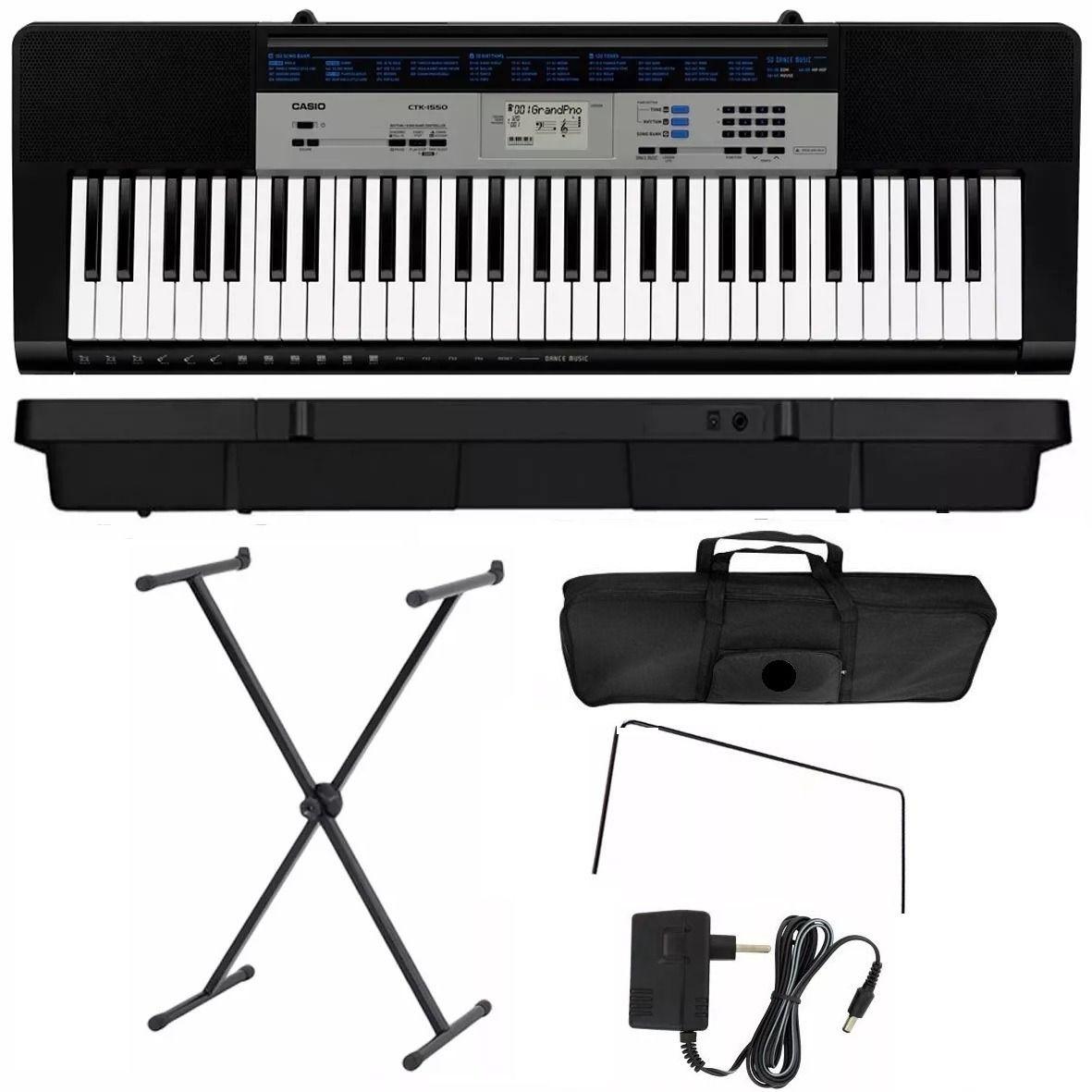 Kit Teclado Musical Arranjador Casio Ctk 1550 61 Teclas