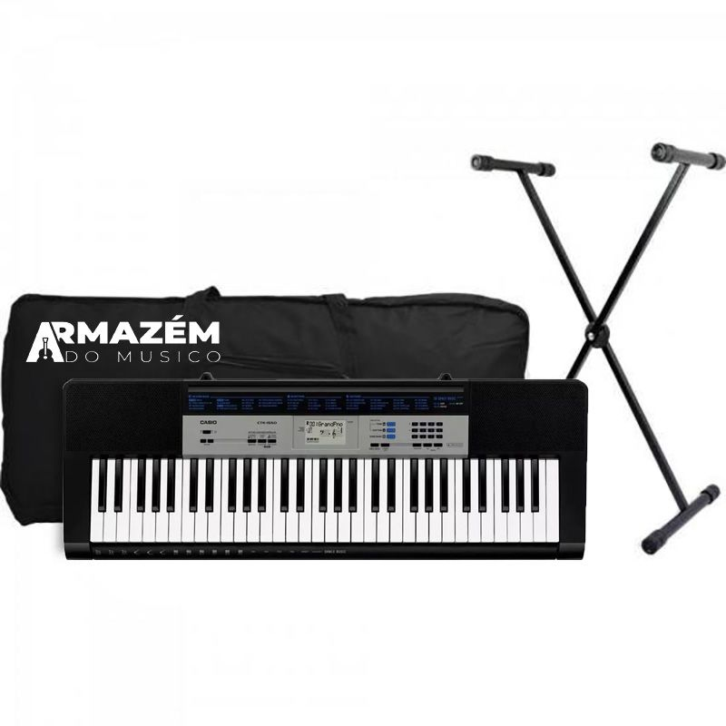 Kit Teclado Musical Arranjador Casio Ctk 1550 61 Teclas
