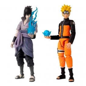 Boneco Articulado Anime Heroes - Naruto Uzumaki + Sasuke Uchiha  | Bandai/Naruto Shippuden