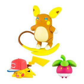 Boneco Pokémon Action Figure - Raichu de Alola + Bounsweet + Pikachu | TOMY/Sunny