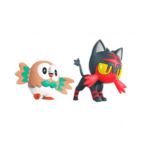 "Boneco Pokémon Battle Figure 2"" - Rowlet e Litten 