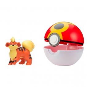 Boneco Pokémon Clip 'N' Go com Growlithe + Repeat Ball | Jazwares