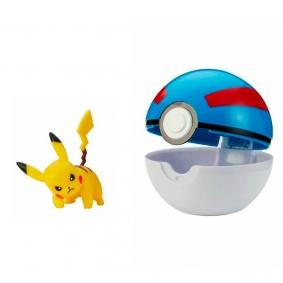 Boneco Pokémon Clip 'N' Go com Pikachu + Great Ball | Jazwares
