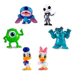 "Bonecos MetalFigs 2,5"" - Stitch + Jack Skellington + Mike Wazowski + Sulley + Donald e Daisy Duck  