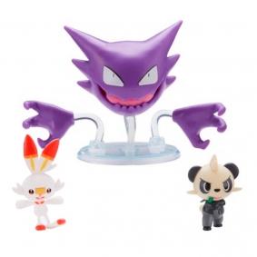 Bonecos Pokémon Battle Figure Set - Haunter + Scorbunny + Pancham | Jazwares
