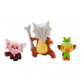 Bonecos Pokémon Battle Figure Set - Marowak + Grookey + Stufful | Jazwares