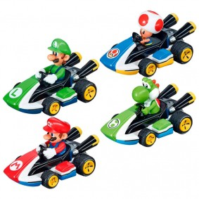 Combo Carros Fricção Pull & Speed Mario Kart: Mario + Luigi + Yoshi + Toad - Standard Kart | Carrera