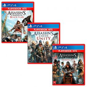 Combo Jogos Assassin's Creed IV Black Flag + Assassin's Creed: Syndicate + Assassin's Creed: Unity - PS4