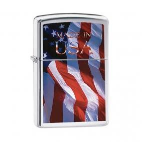Isqueiro Zippo 24797 Classic Cromado Made in USA Flag Polido