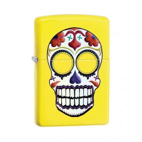 Isqueiro Zippo 24894 Classic Day of the Dead Sugar Skull Amarelo Neon