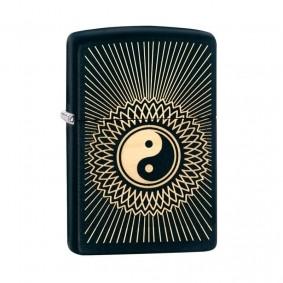Isqueiro Zippo 29423 Classic Gold & Black Yin-Yang Design Preto Fosco