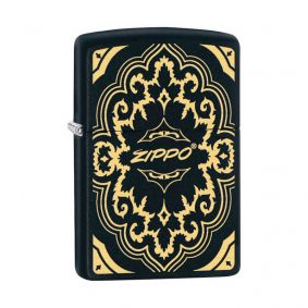 Isqueiro Zippo 29703 Classic Gold & Black Design Preto Fosco