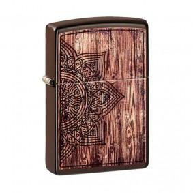 Isqueiro Zippo 49184 Classic Wood Mandala Marrom Fosco