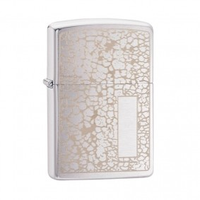 Isqueiro Zippo 49208 Classic Cromado Crackle Pattern Panel Escovado