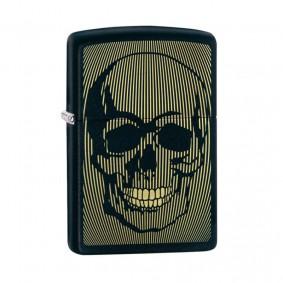 Isqueiro Zippo 49216 Classic Gold & Black Skull Preto Fosco